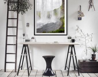 Iceland waterfall print - Seljalandsfoss photo - Nature photography - Large wall art - Framed fine art - Photo print - Nature art - Skogar