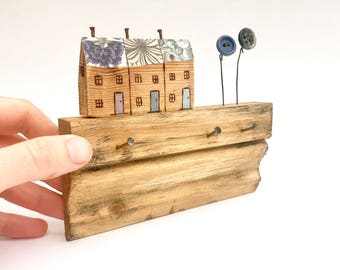 Pip house -  .. terraced houses, architrave, salvaged wood art, housewarming gift, home, rustic decor street, key holder