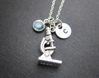 Microscope Necklace - Science Lab Microscope for scientists, Handstamped Initial Name, Customized Swarovski crystal birthstone
