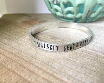 Whiskey Bent & Hell Bound Bracelet-Metal Cuff Bracelet-Indie Jewelry-Free Spirit Jewelry-Gift-Empowerment