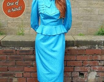 1970s Vintage Blue Shimmer Secretary Dress UK Size 10