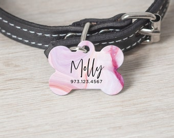 Personalized Pet ID Tag, Bone Shape Pet Tag, Custom Cat Tag, Dog Tag, Custom Pet Tag, Pet Name Tag, Custom Dog Tag, Pink Marble