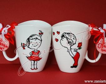 "Pair of love mugs ""Boy and Girl"" #102"