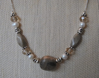 Petoskey Stone focal necklace set, Petoskey stone nuggets, sterling silver, Michigan necklace, Up North necklace