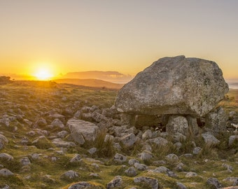 Landscape photography print with white mount- King Arthur's Stone at sunset