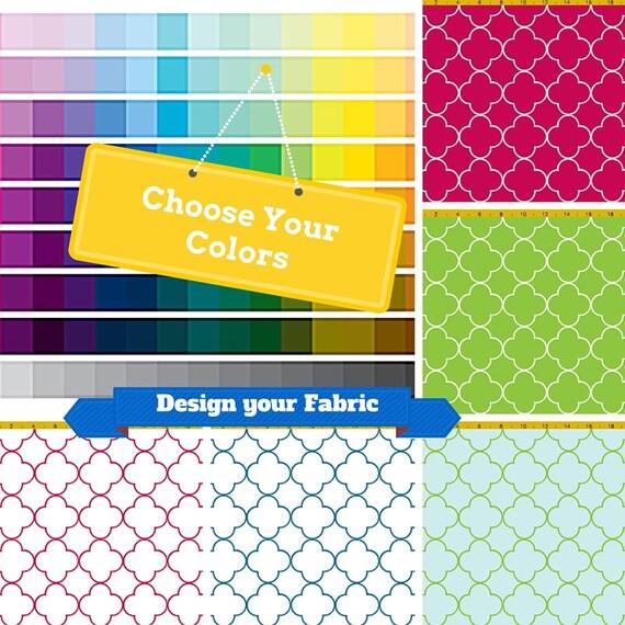 Quatrefoil Custom Fabric by the Yard - Design your Own Home Decor Fabric, Upholstery, Curtains, Linen, Cotton, Silk, Minky, Fleece, Organic