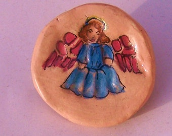 OOAK  Brooch Angel  handpainted 1 inch Paper Clay pink and blue