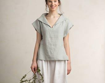Grey blouse women, Linen blouse, Light grey linen top women, Linen women's clothing, Natural blouse for woman, Linen clothes for woman