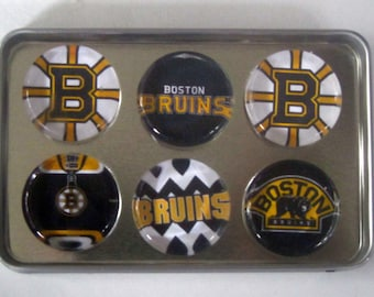 Boston Bruins Fridge Magnets - Boston Bruins Hockey Refrigerator Magnets Set of 6
