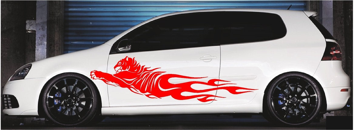 Tiger Flames Vinyl Cut Car And Truck Decal Sticker Graphics - Truck decals and graphics