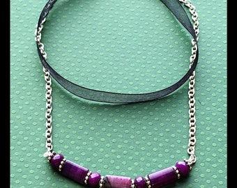 Adjustable Black Leather and Purple Gemstones