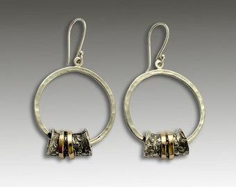 Silver Earrings, Dangle Silver Earrings, Two Toned Earrings, Yellow Gold Spinner Earrings, Botanical Earrings, Hoops - Deep in love E2180