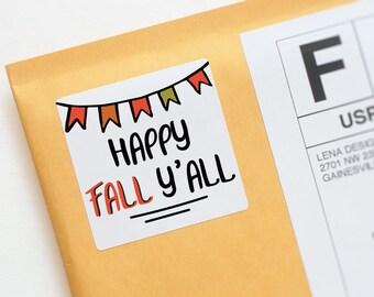 Happy Fall Yall Stickers - Fall Stickers - Happy Fall Design - Seasonal Packaging - Happy Mail Stickers - Packaging Sticker - Envelope Seal