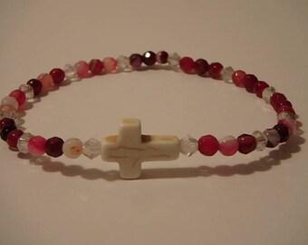 stretch bracelet plum agates 4 mm, swarovski crystals,& white turquoise cross