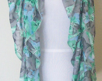 Womens Silky Ruffled Scarf / Gray and Aqua Butterflies