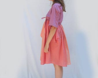 Six Sleeves Wrap dress , Wearable Versatile Upcycled Men's Shirt creation, Pink, Salmon, Lilac, made by kathrin kneidl for Resplendent Rags
