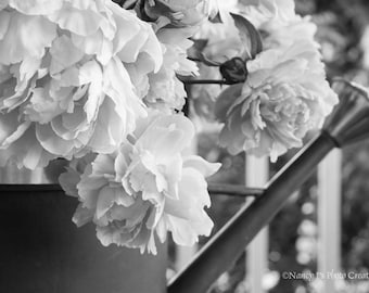 Peony Print, Country Decor, Floral Photo, Rustic Wall Decor Farmhouse Wall Art Black and White Photo Flower Art Antique Watering Can Picture
