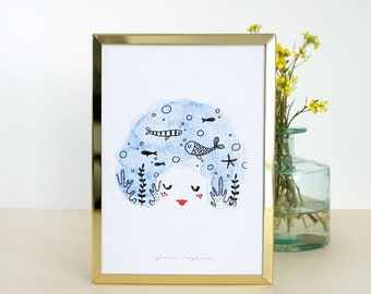 "Watercolor pint ""Imagine the sea"" Illustration esencia custome"