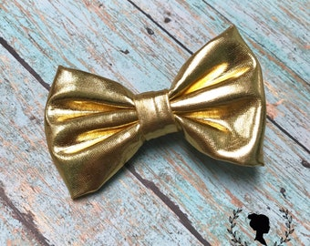 Gold Soft Leather Bow Barrette