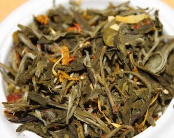 White Tea:  Ginger Orange Peach Specialty Blend, Loose Leaf White Tea, Loose Tea Blend , Bridal Tea Party Tea