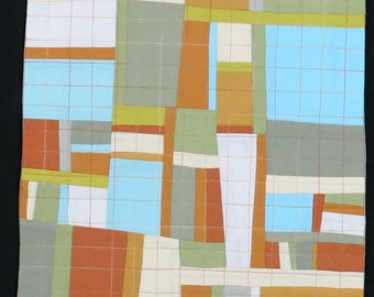"""Art Quilt, Quilt Art, Wallhanging. Motif #23. 15""""H x 12""""W. Pieced and quilted in 100% cotton, hanging sleeve."""