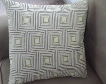 Pillow cover 18 x18 interior design fabric tans greens and browns