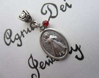 Divine Mercy Image Medal & Red Glass Charm Pendant, Patron for Mercy - Love, Confirmation Gift