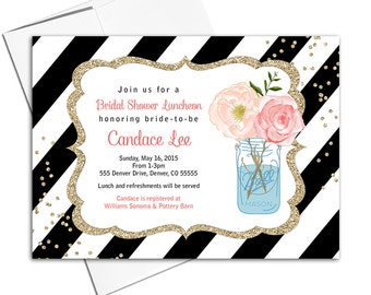 Bridal Shower Luncheon Invitations | black and white stripe bridal shower invitation | mason jar flowers invites printable - WLP00616
