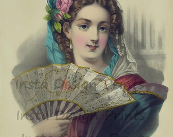 """L'eventail c1881 Lady Holding a Fan French Beauty 11"""" x 14"""" Digital Download Printable Art Commercial Use Scrapbooking Printables"""