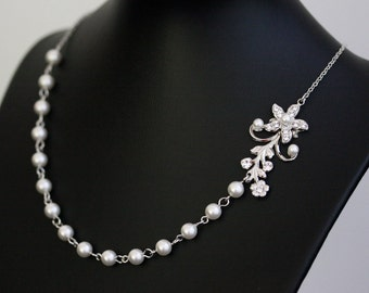 Vine Necklace White Pearl Bridal Necklace Vintage Rhinestone Flower Simple Wedding Necklace  Wedding Jewelry Violet
