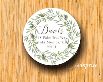 Round Address labels/fall/autumn labels wreath/acorn/Thanksgiving label/printable labels