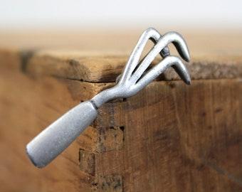 Summer Gardening Brooch / Hand Rake Brooch