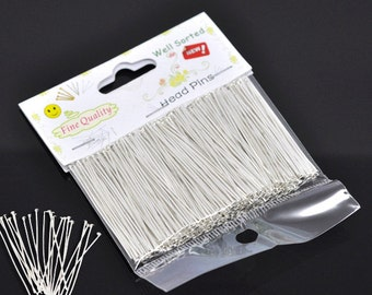 """1 Pack(300PCs) Well Sorted Silver Plated Head Pins 5cm (2"""") (B484u)"""