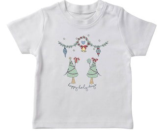 Happy Holy Days Christmas Trees  Boy's White T-shirt