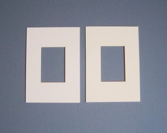 Two ACEO mats - White - 5 x 7 inches  or smaller