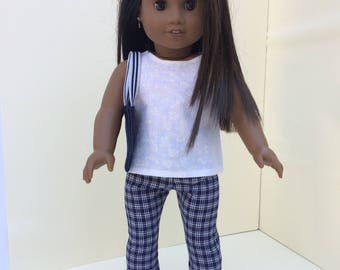 Navy Plaid Pant Outfit for American Girl Doll