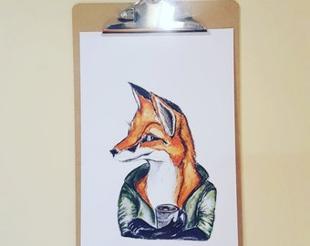 Watercolor fox print, fox art,a4  fox  print, fox and coffee art, quirky fox art, quirky fox, fox print, boys room fox print, fox