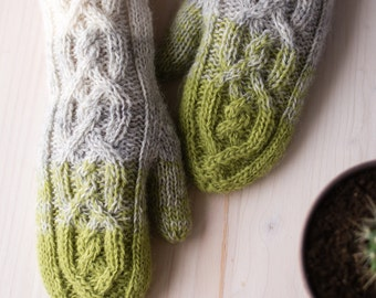 Hand knit lopi wool mittens