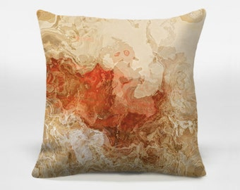 Decorative pillow cover with abstract art, 16x16 and 18x18 red and beige accent pillow, throw pillow cover, Popular Culture