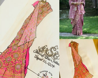 Custom Sari Sketch Wedding or Anniversary Gift