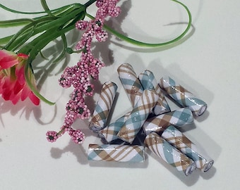 """Hand-rolled 1"""" paper tube beads - Brown/Blue Plaid 1 - set of 10"""