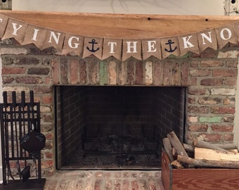 Tying the Knot Burlap Banner