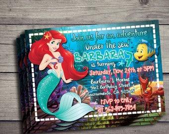 Little Mermaid Invitation, Ariel Invitation, Little Mermaid Birthday Invidation, Little Mermaid Birthday Party Invite, LITTLE MERMAID, ARIEL
