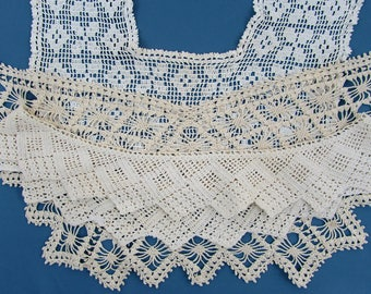Antique/Vintage Crochet Collar Lot - white & off-white  - dress, waist, camisole trim