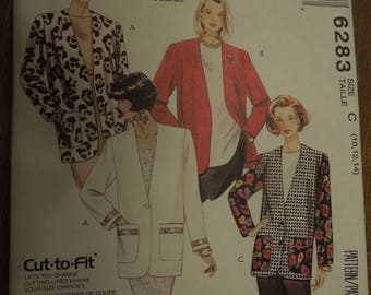 McCalls 6283, sizes 10-14, lined or unlined jacket in two lengths, UNCUT sewing pattern, misses, womens