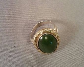 Vintage Silver and Green Ring