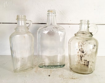 Set of 3 Vintage Pint Sized Glass Bottles/Farmhouse Kitchen Decorative Mid Sized Glass Bottles/Shabby Chic Pint Bottle Collection of 3