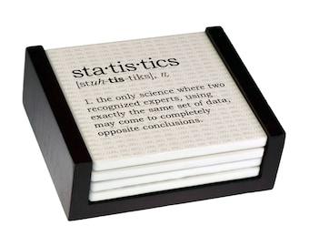 Statistics Definition Coaster Set - Sandstone Tile with Cork Back - 4 Piece Set -  Wood Box Caddy Included