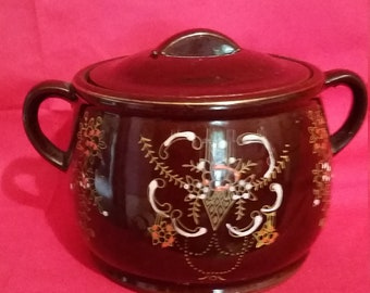 Mid-Century Japanese Brown Betty Crock with lid