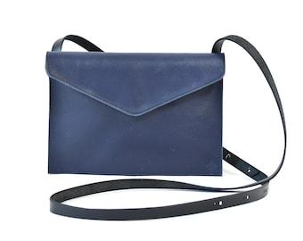 Evette - Handmade Blue Leather Shoulder Bag Purse SS17